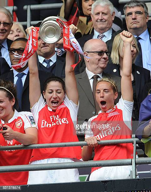 Vicky Losada and Jordan Nobbs of Arsenal Ladies lift the FA Cup Trophy after the match between Arsenal Ladies and Chelsea Ladies at Wembley Stadium...