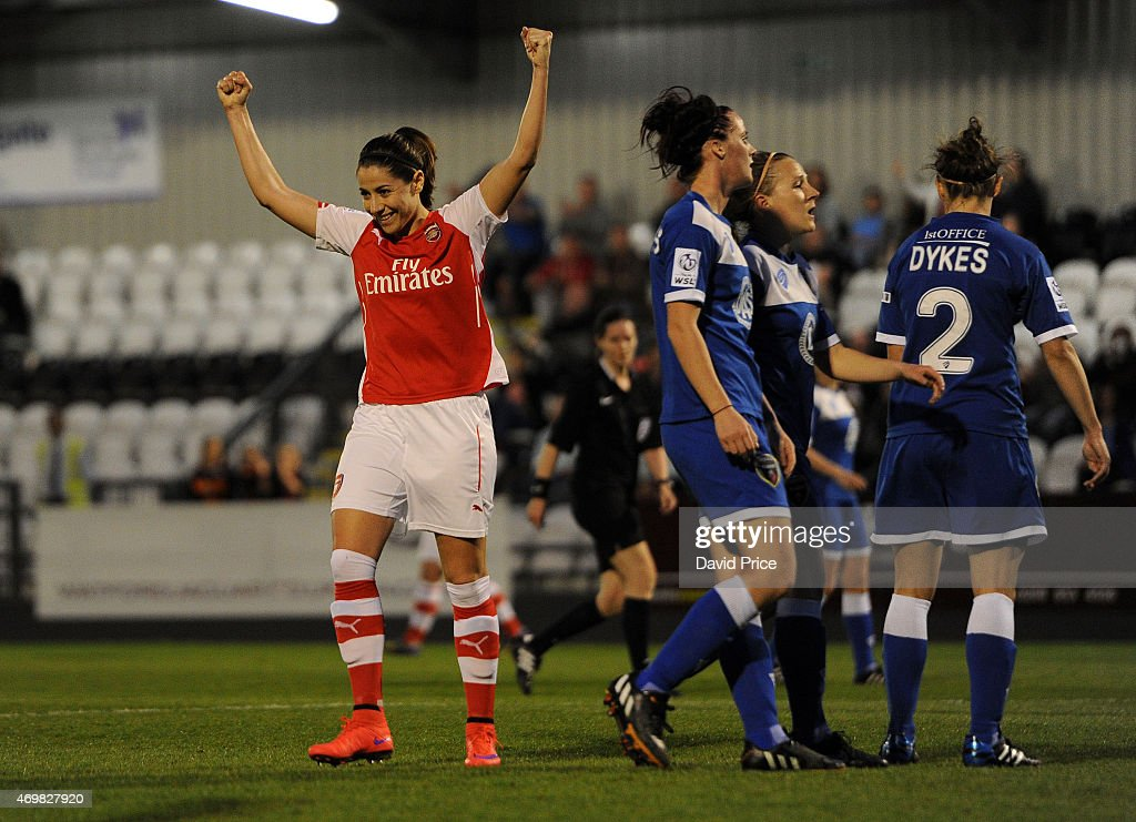 Vicky Losada celebrates scoring Arsenal's 2nd goal during the WSL match between Arsenal Ladies and Bristol Academy at Meadow Park on April 15, 2015 in Borehamwood, England.