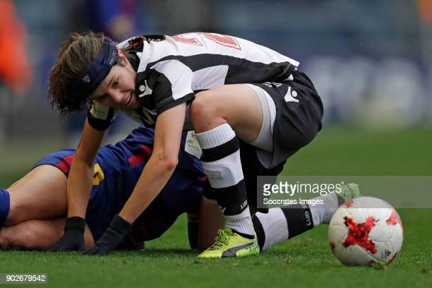 Vicky Losada Gomez of FC Barcelona Women, Sofie Junge Pedersen of Levante UD Women during the Iberdrola Women's First Division match between FC...
