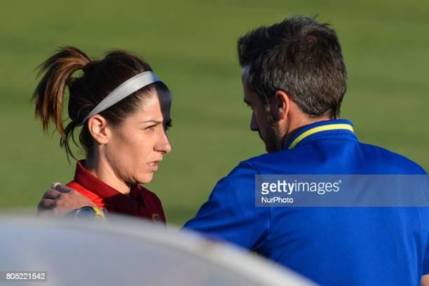 Vicky Losada Jorge Vilda during a friendly match between the national women's teams of Spain vs Belgium in Pinatar Arena Murcia Spain Friday June 30...