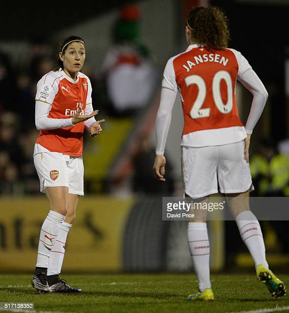 Vicky Losada of Arsenal Ladies gives Dominique Janssen some instructions during the match between Arsenal Ladies and Reading FC Women on March 23...