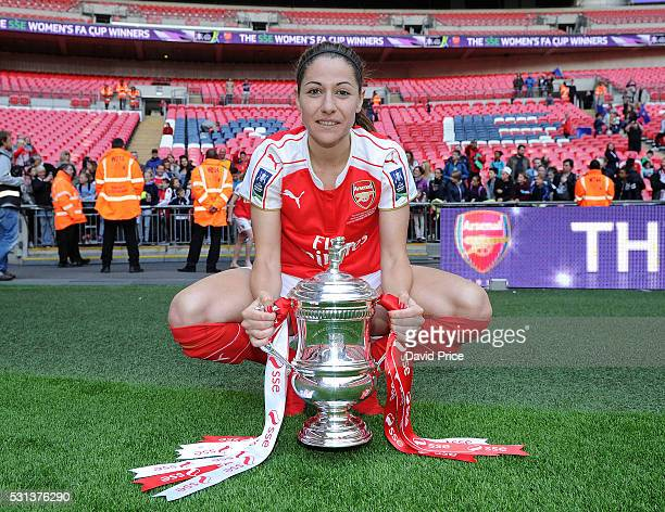 Vicky Losada of Arsenal Ladies with the FA Cup Trophy after the match between Arsenal Ladies and Chelsea Ladies at Wembley Stadium on May 14 2016 in...