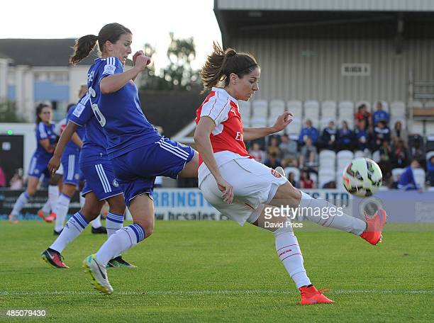 Vicky Losada of Arsenal takes on Niamh Fahey of Chelsea during the match between Arsenal Ladies and Chelsea Ladies at Meadow Park on August 23 2015...