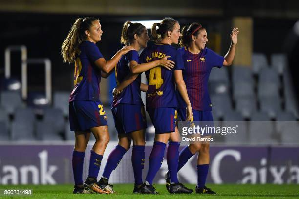 Vicky Losada of FC Barcelona celebrates with her team mates after scoring his team's second goal during the UEFA Womens Champions League round of 32...