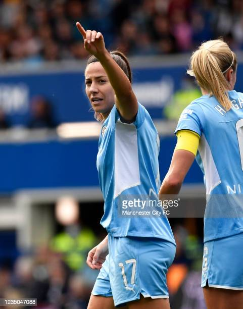 Vicky Losada of Manchester City celebrates scoring a goal to make the score 0-1 during the Barclays FA Women's Super League match between Everton...
