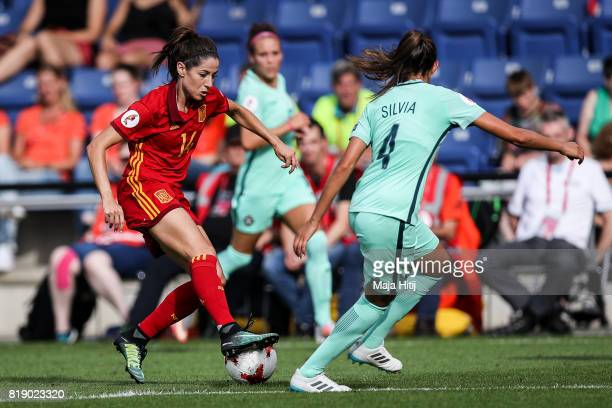 Vicky Losada of Spain and Silvia Rebelo of Portugal battle for the ball during the Group D match between Spain and Portugal during the UEFA Women's...