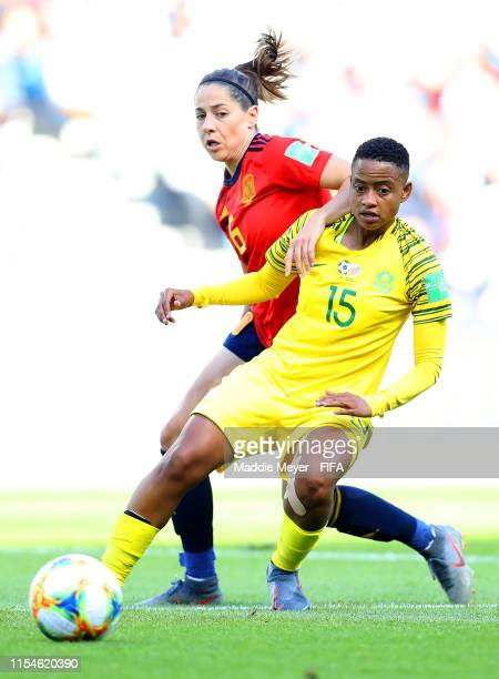 Vicky Losada of Spain battles for possession with Refiloe Jane of South Africa during the 2019 FIFA Women's World Cup France group B match between...