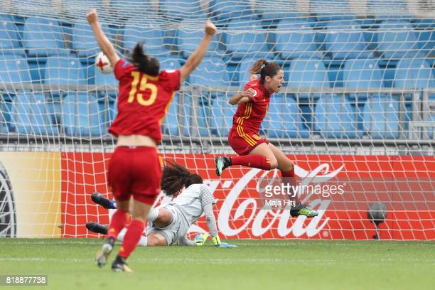 Vicky Losada of Spain celebrates after scoring her team's first goal during the Group D match between Spain and Portugal during the UEFA Women's Euro...