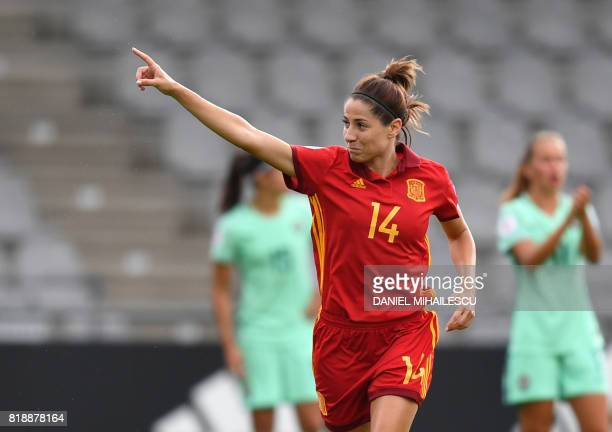 Vicky Losada of Spain celebrates after she scored against Portugal during the UEFA Womens Euro 2017 football tournament match between Spain and...