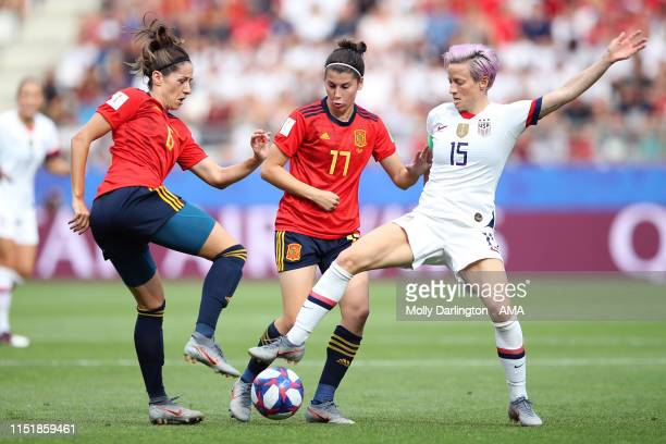 Vicky Losada of Spain Lucia Garcia of Spain and Megan Rapinoe of USA during the 2019 FIFA Women's World Cup France Round Of 16 match between Spain...