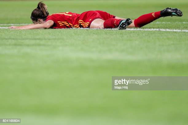 Vicky Losada of Spain lyes on the ground during the Group D match between Scotland and Spain during the UEFA Women's Euro 2017 at Stadion De...