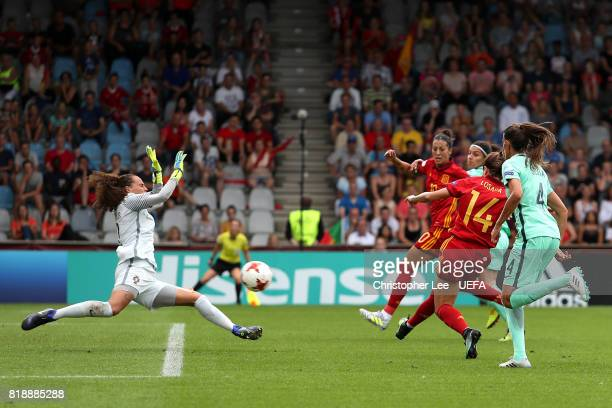 Vicky Losada of Spain scores the opening goal of the game during the UEFA Women's Euro 2017 Group D match between Spain and Portugal at Stadion De...