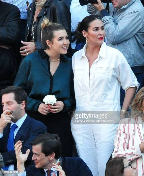 Vicky Martin Berrocal and her daughter Alba Diaz attend a bullfighting of San Isidro Fair at Las Ventas bullring at Las Ventas Bullring on May 16...