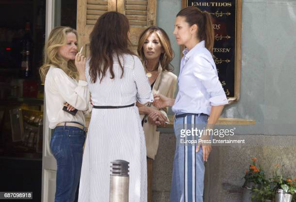 Vicky Martin Berrocal Mar Flores and Veva Longoria are seen leving Quintin restaurant on May 22 2017 in Madrid Spain