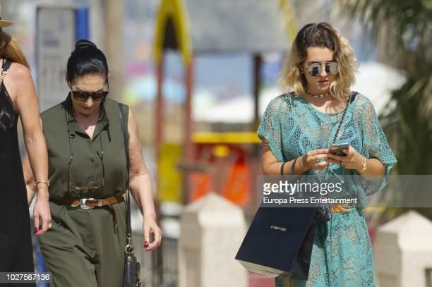 Vicky Martin Berrocal's daughter Alba Diaz and mother Victoria Martin Serrano are seen on August 3 2018 in Marbella Spain