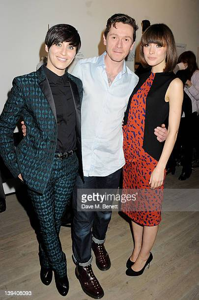 Vicky McClure designer Alistair Carr and Rose Byrne pose at the Pringle Of Scotland Autumn/Winter 2012 show during London Fashion Week at Phillips de...