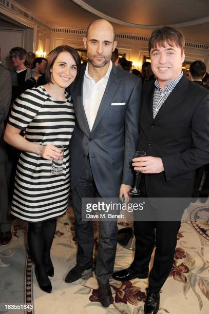 Vicky McClure Mark Strong and Jonathan Owen arrive at the 2013 South Bank Sky Arts Awards at The Dorchester on March 12 2013 in London England