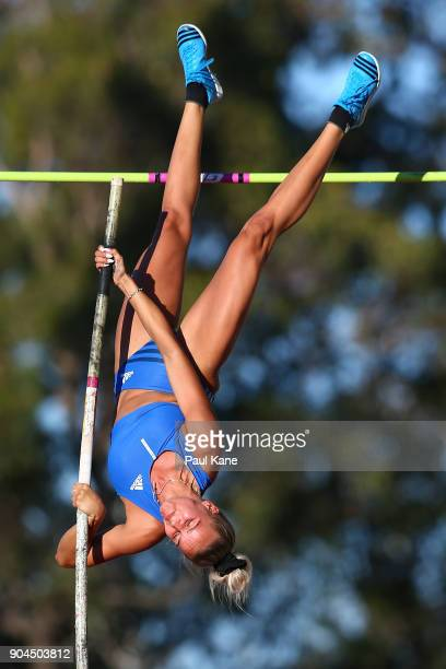 Vicky Parnov competes in the women's pole vault during the Jandakot Airport Perth Track Classic at WA Athletics Stadium on January 13 2018 in Perth...