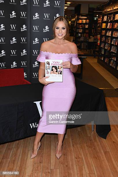 Vicky Pattison signs copies of her book 'The Real Me Fashion Fitness And Food Tips For Real Women' at Waterstones Bluewater on August 2 2016 in...
