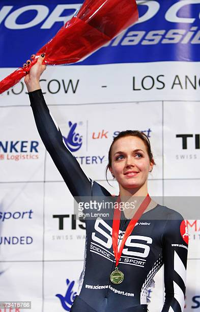 Vicky Pendleton of Great Britain celebrates winning the Women's Keirin during the UCI Track Cycling World Cup Classic at the Manchester Velodrome on...