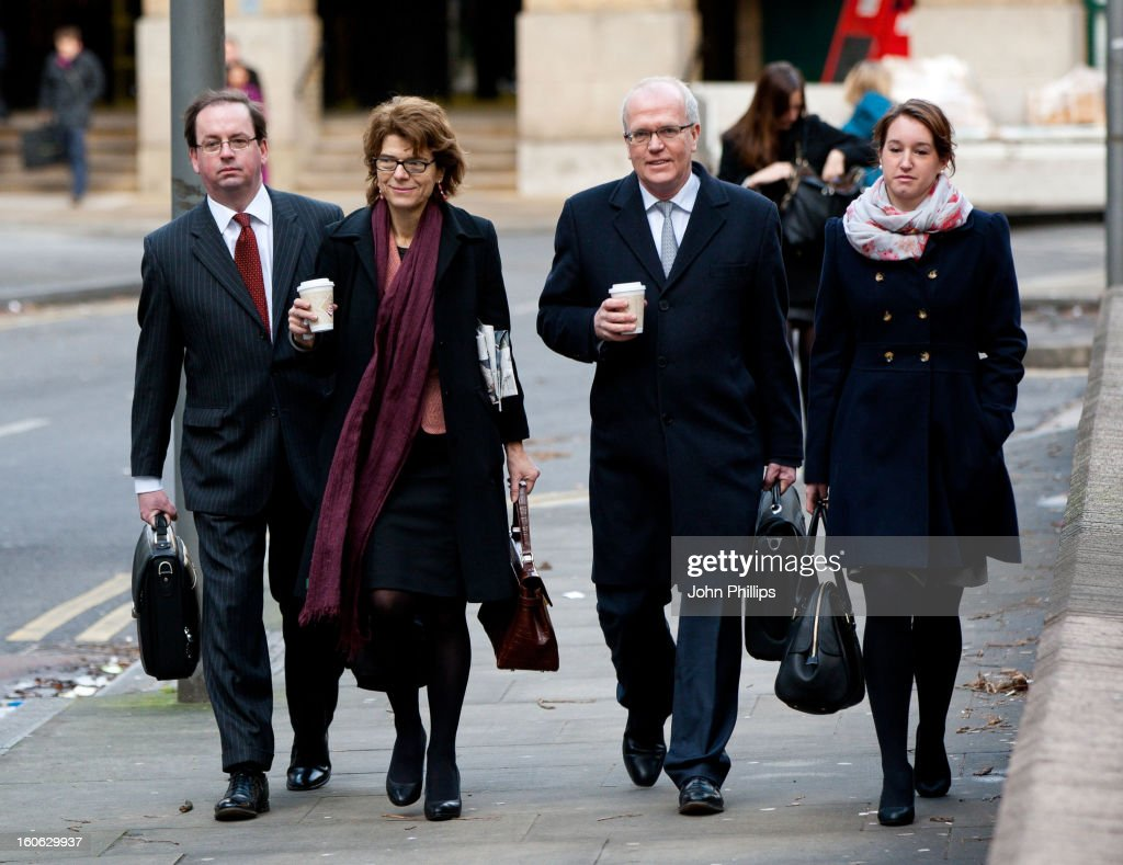 Vicky Pryce arrives at Southwark Crown Court on February 4, 2013 in London, England. Former Cabinet member Chris Huhne, 58, and his ex-wife Vicky Pryce are on trial over allegations that Pryce, 60, took penalty points on her driving licence in 2003 so that he could avoid prosecution.