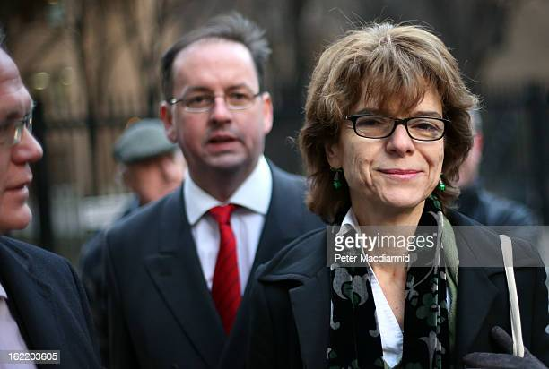 Vicky Pryce exwife of Chris Huhne walks from Southwark Crown Court with her legal team on February 20 2013 in London England Former Cabinet member...