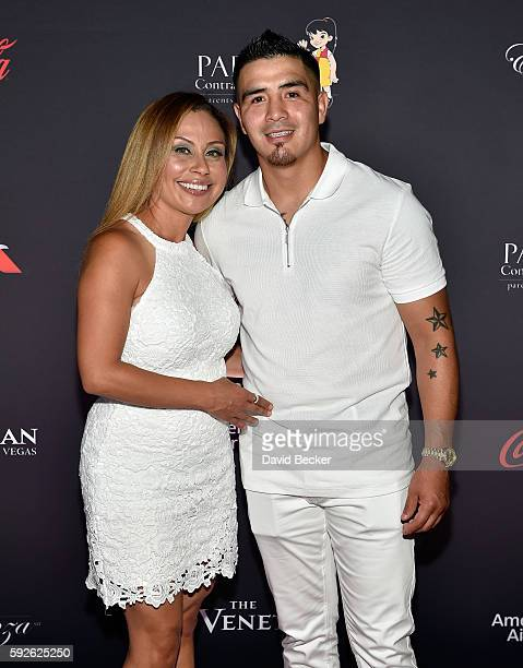 "Vicky Rios and her husband, boxer Brandon Rios attend the Padres Contra El Cancer's 16th annual ""El Sueno de Esperanza"" celebration at The Venetian..."