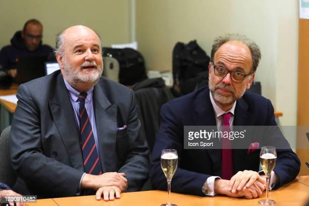 Vicomte Jean D'INDY and Emmanuel DE ROHAN CHABOT, president ZeTurf during the Meeting Auteuil on 11th April 2019