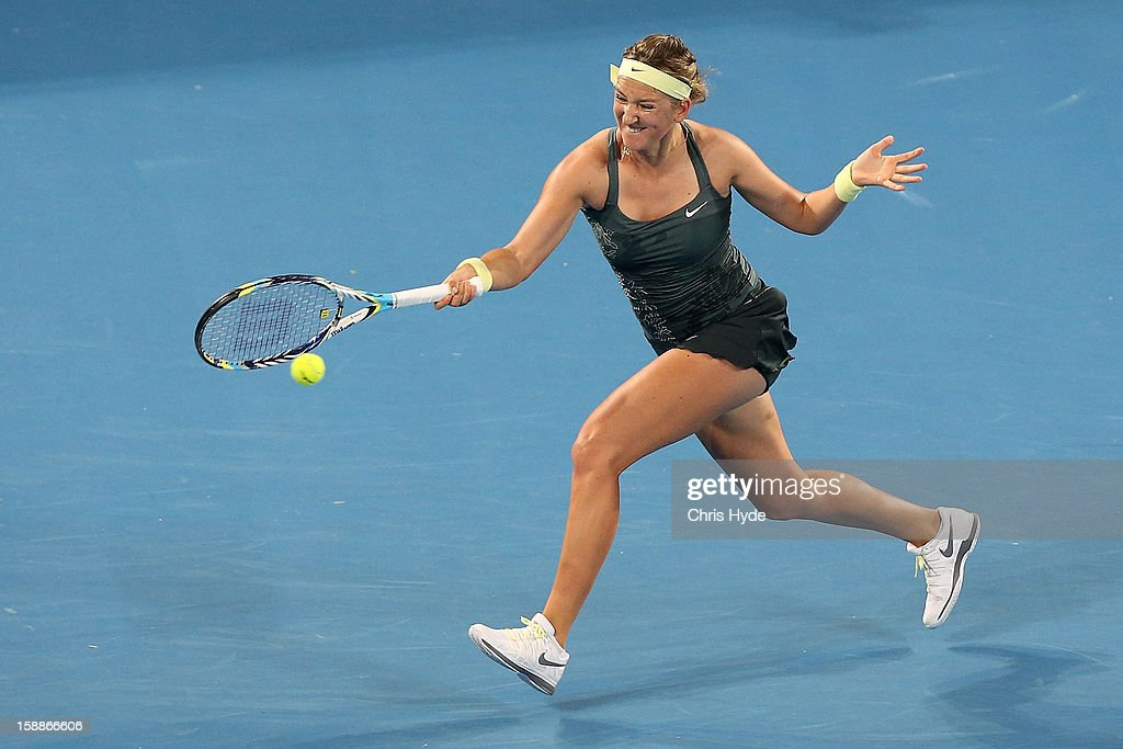 Vicortia Azarenka of Belarus plays a forehand during her game against Sabine Lisicki of Germany on day four of the Brisbane International at Pat Rafter Arena on January 2, 2013 in Brisbane, Australia.