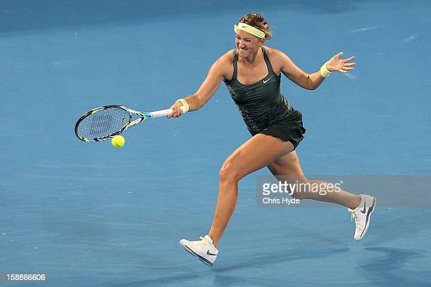 Vicortia Azarenka of Belarus plays a forehand during her game against Sabine Lisicki of Germany on day four of the Brisbane International at Pat...