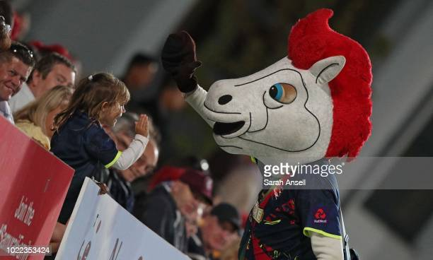 Victa the Kent Spitfires mascot high fives a young fan during the Vitality Blast QuarterFinal match between Kent Spitfires and Lancashire Lightning...