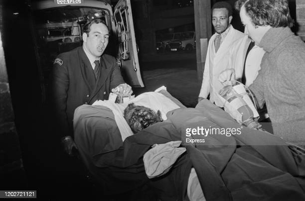 Victim arriving at hospital after they were injured in the Birmingham pub bombings which took place on 21st November 1974, in Birmingham, West...