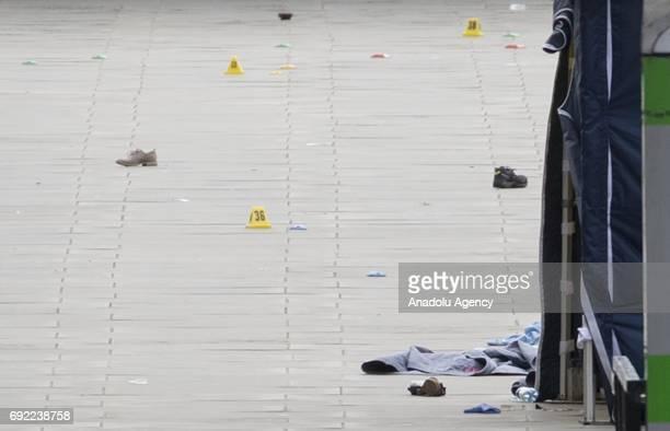 Victim belongings lay on the floor across London Bridge following last night terror attack at London Bridge and Borough Market central London where...