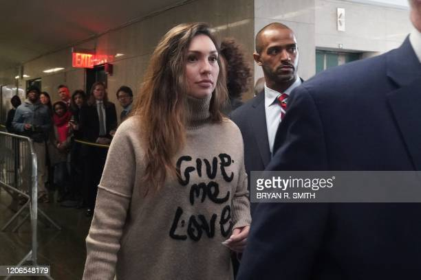 Victim former actress Jessica Mann arrives for the sentencing of movie producer Harvey Weinstein at Manhattan Criminal Court on March 11 2020 in New...