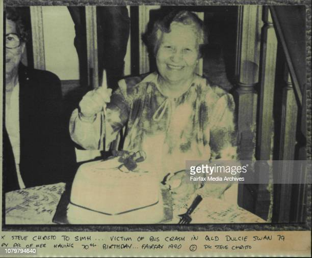 Victim of bus crash in Qld Dulcie Swan 79 by pic of her having 70th BirthdayAnother member of the Newcastle Social Club Mrs Dulcie Swan had kissed...