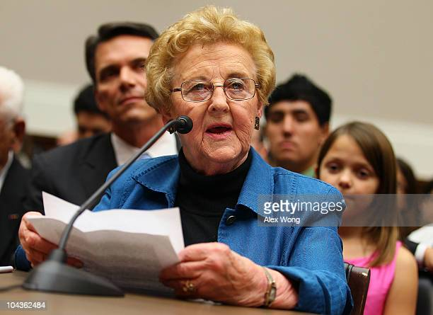 Victim of salmonella outbreak Carol Lobato testifies during a hearing before the Oversight and Investigations Subcommittee of the House Energy and...