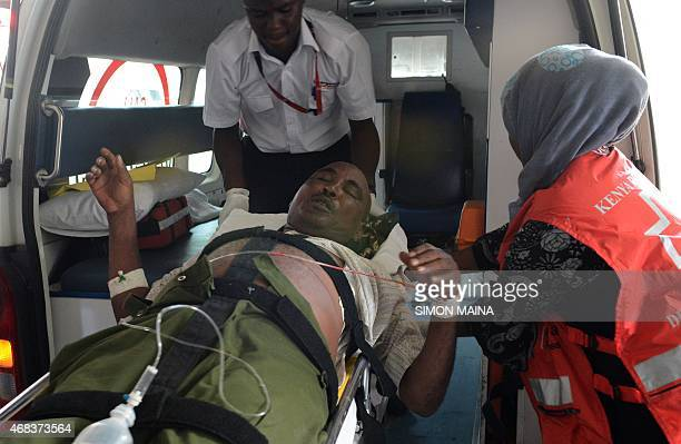 Victim of the attack on a Kenyan university, the Garissa University College campus in north eastern Kenya, arrives at the Kenyatta hospital, on April...