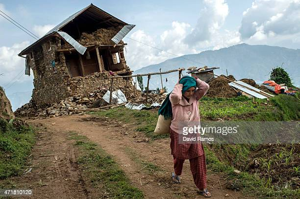 A victim of the earthquake carries a sack of feed past a damaged home on May 1 2015 in Bhotechaur Nepal A major 78 earthquake hit Kathmandu midday on...