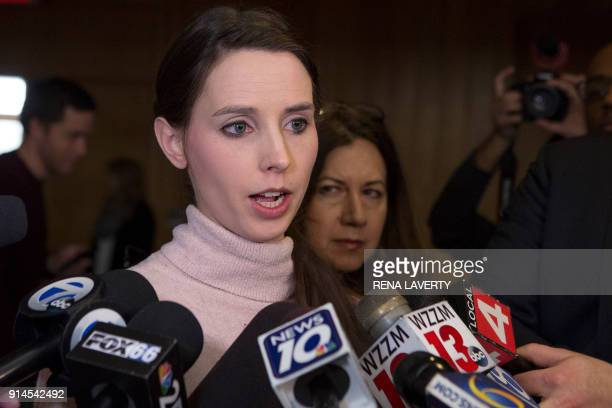 Victim Rachael Denhollander addresses the media following the final phase of sentencing of former Michigan State University and USA Gymnastics doctor...