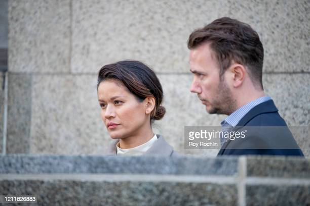 Victim Tarale Wulff prepares to speak to the media outside the courthouse after movie mogul Harvey Weinstein was sentenced to 23 years in prison on...