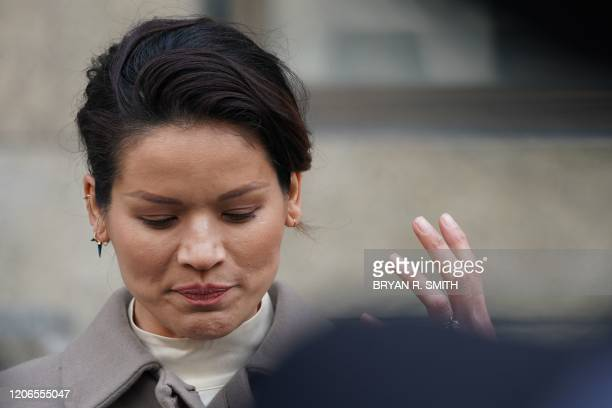 Victim Tarale Wulff speaks to the media outside the courthouse following the sentencing of movie producer Harvey Weinstein at Manhattan Criminal...