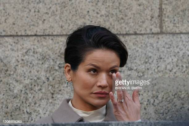 Victim Tarale Wulff walks outside the courthouse following the sentencing of movie producer Harvey Weinstein at Manhattan Criminal Court on March 11...