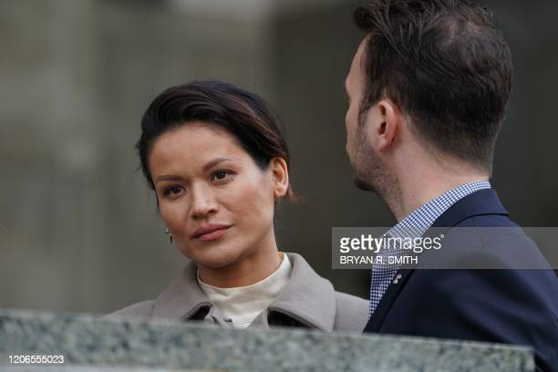 Victim Tarale Wulff with an unidentified male stands outside the courthouse following the sentencing of movie producer Harvey Weinstein at Manhattan...