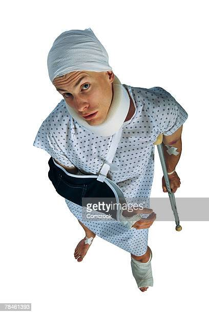 victim with treated injuries - lawsuit stock pictures, royalty-free photos & images