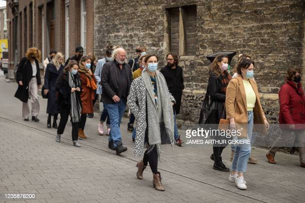 Victims and lawyers, including actress Maaike Cafmeyer and her husband Frans Grapperhaus arrive for a session of the Criminal Court in Mechelen in...