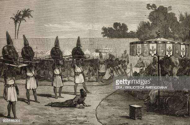 Victims for sacrificial rite Dahomey Benin illustration from the magazine The Illustrated London News volume LXIII August 2 1873