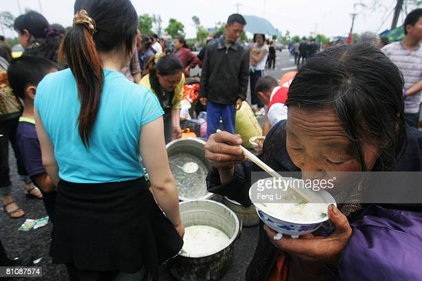 Victims from Chuanbei county take refuge in Mianyang May 14 2008 in Mianyang City Sichuan province China A major earthquake measuring 79 on the...