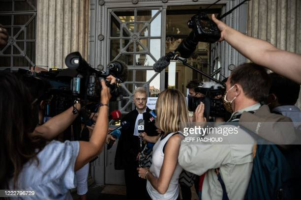 Victims lawyer Christophe Leguevaques talks to journalists at the courthouse of Lyon centraleastern France on June 25 for the ruling in the appeal...