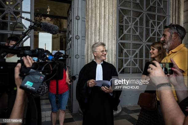 Victims lawyer Christophe Leguevaques talks to journalists at the courthouse of Lyon centraleastern France on June 25 during the ruling in the appeal...