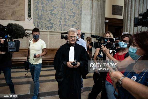 Victims lawyer Christophe Leguevaques talks to journalists at the courthouse of Lyon centraleastern France on June 25 after the ruling in the appeal...